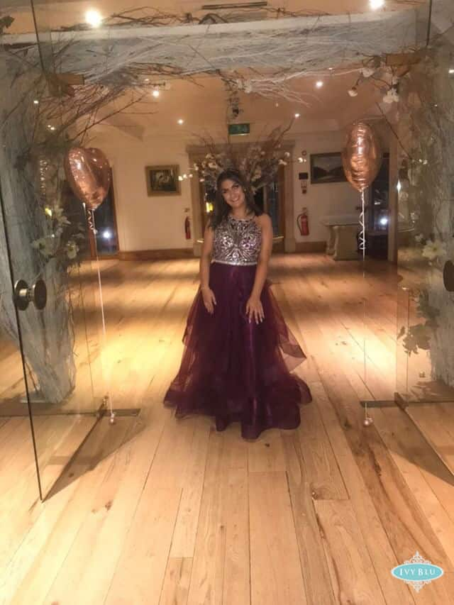Prom Girl In Wine Dress With Beaded Top