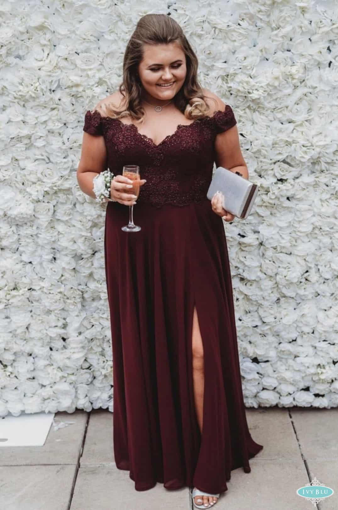 Girl Wearing Wine Dress With Drinking Champagine