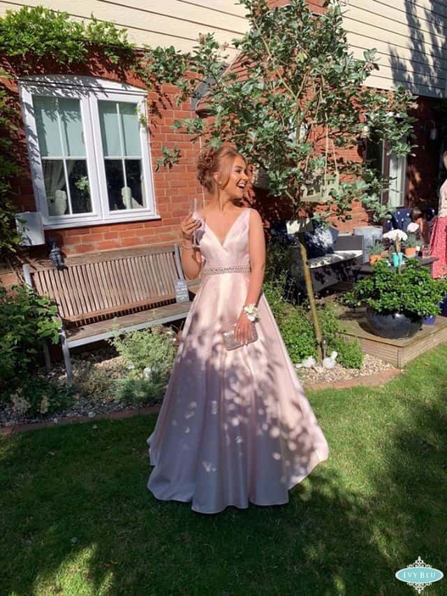 Prom Girl In Full Length Baby Pink Dress