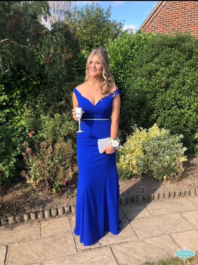 Girl Wearing Royal Blue Full Length Dress