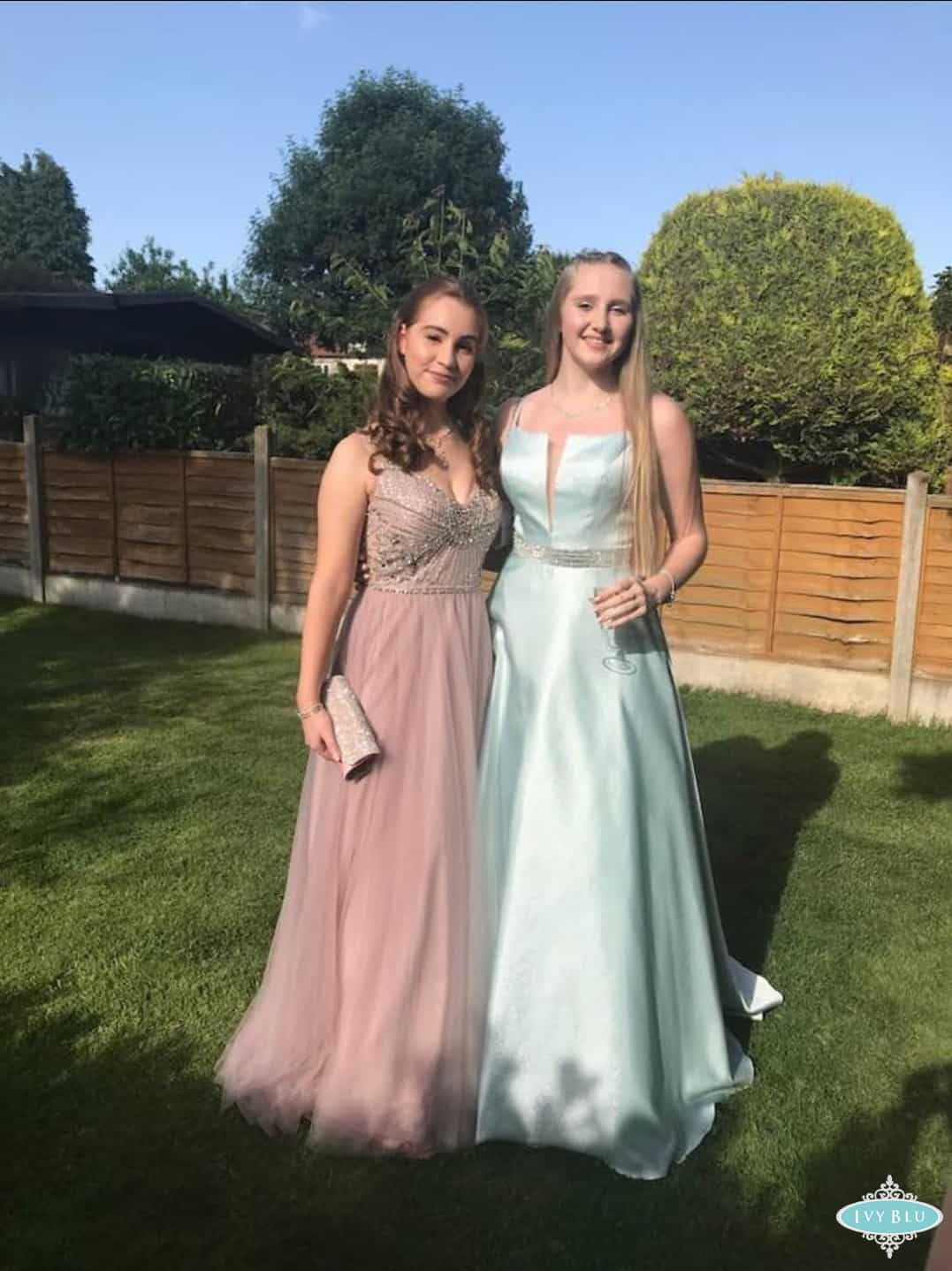 Two Prom Girls Wearing Pink And Blue