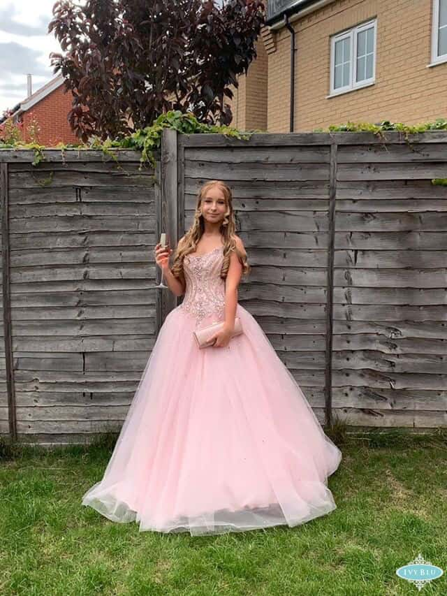 Prom Girl Wearing Pink Ballgown Dress
