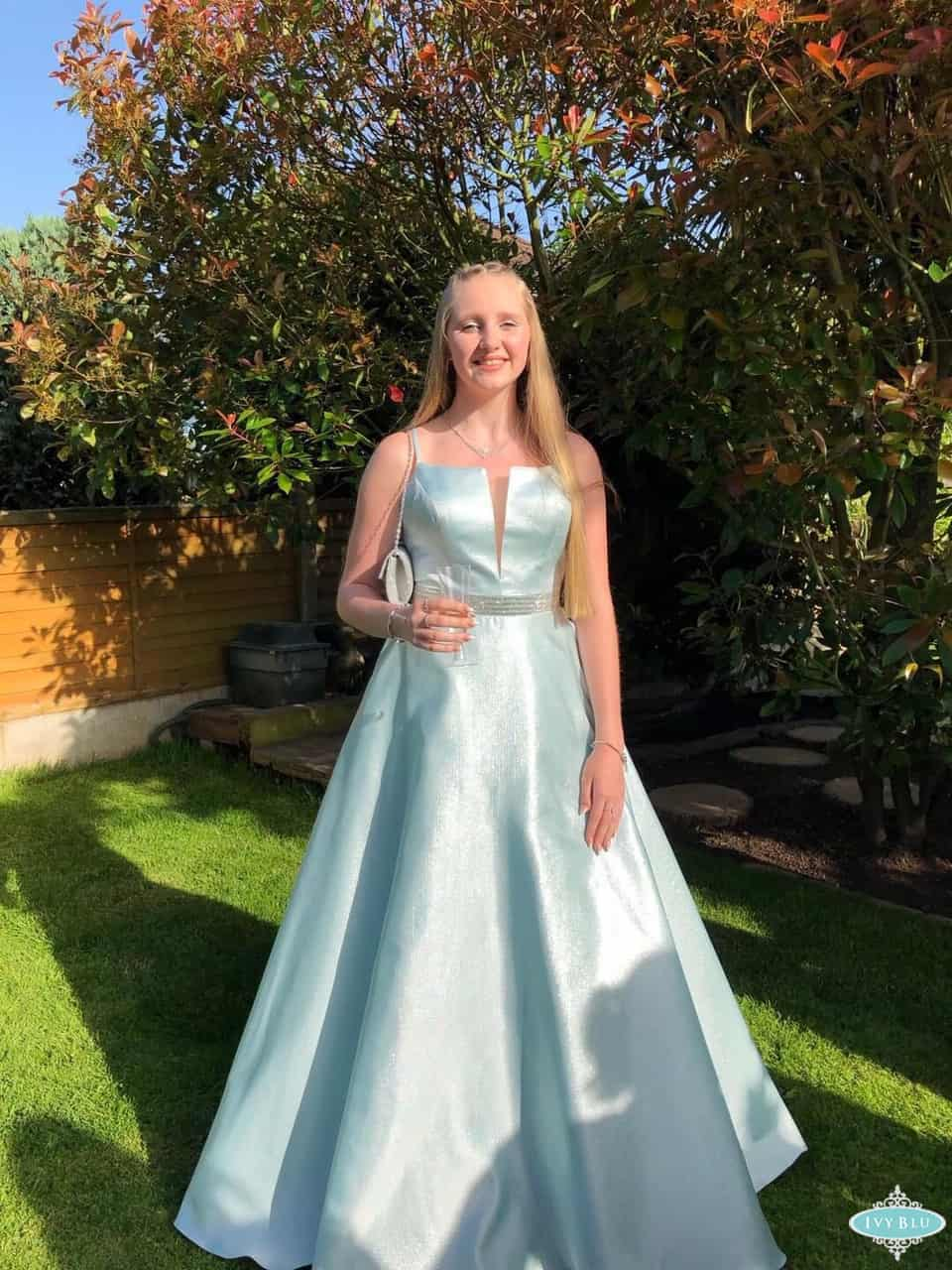 Prom Girl In Full Length Light Blue Dress