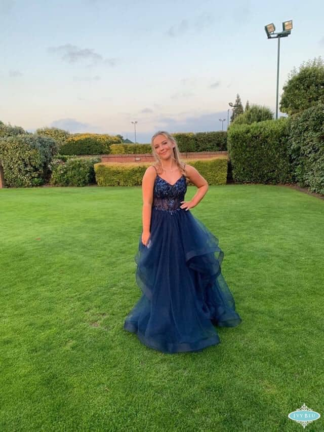 Prom Girl In Navy Ruffle Dress