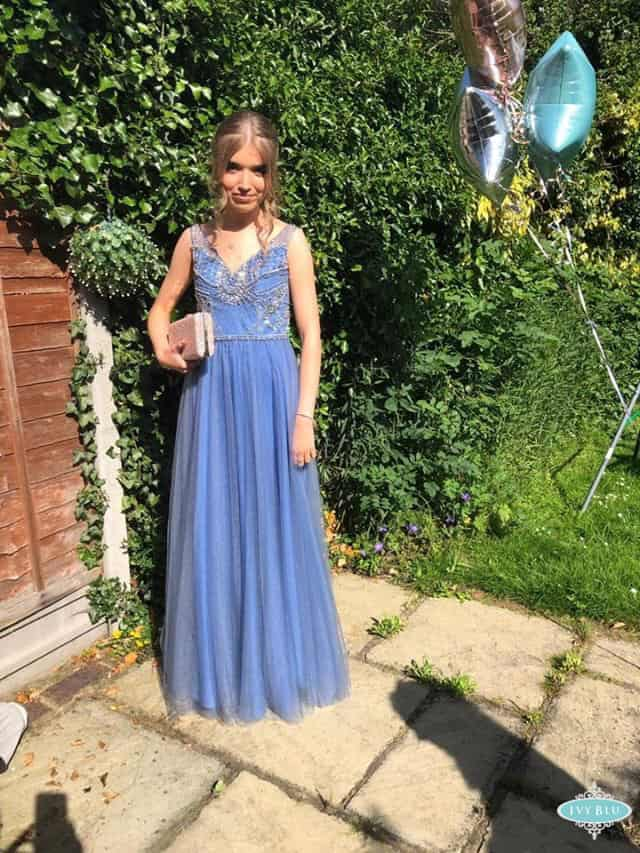 Prom Girl In Long Cornflower Dress With Bag