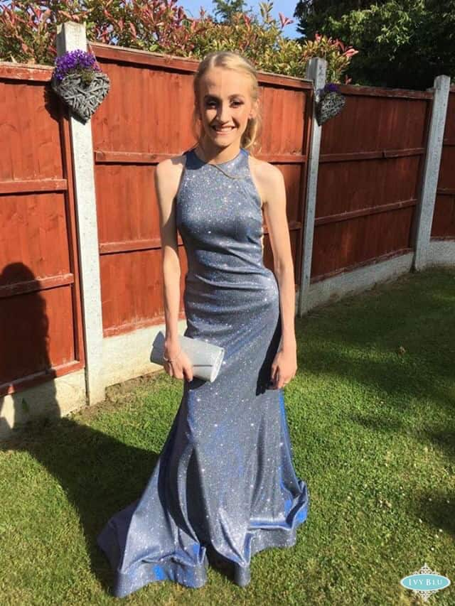 Prom Girl In Sparkley Blue Dress