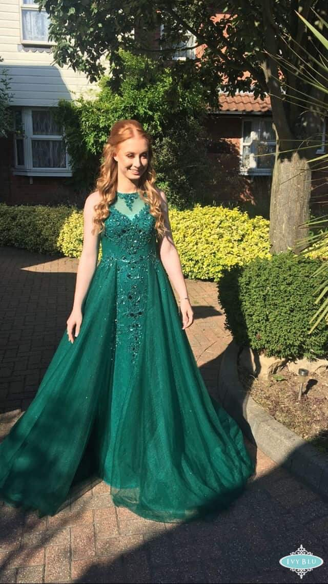 Girl In Full Lenth Green Dress